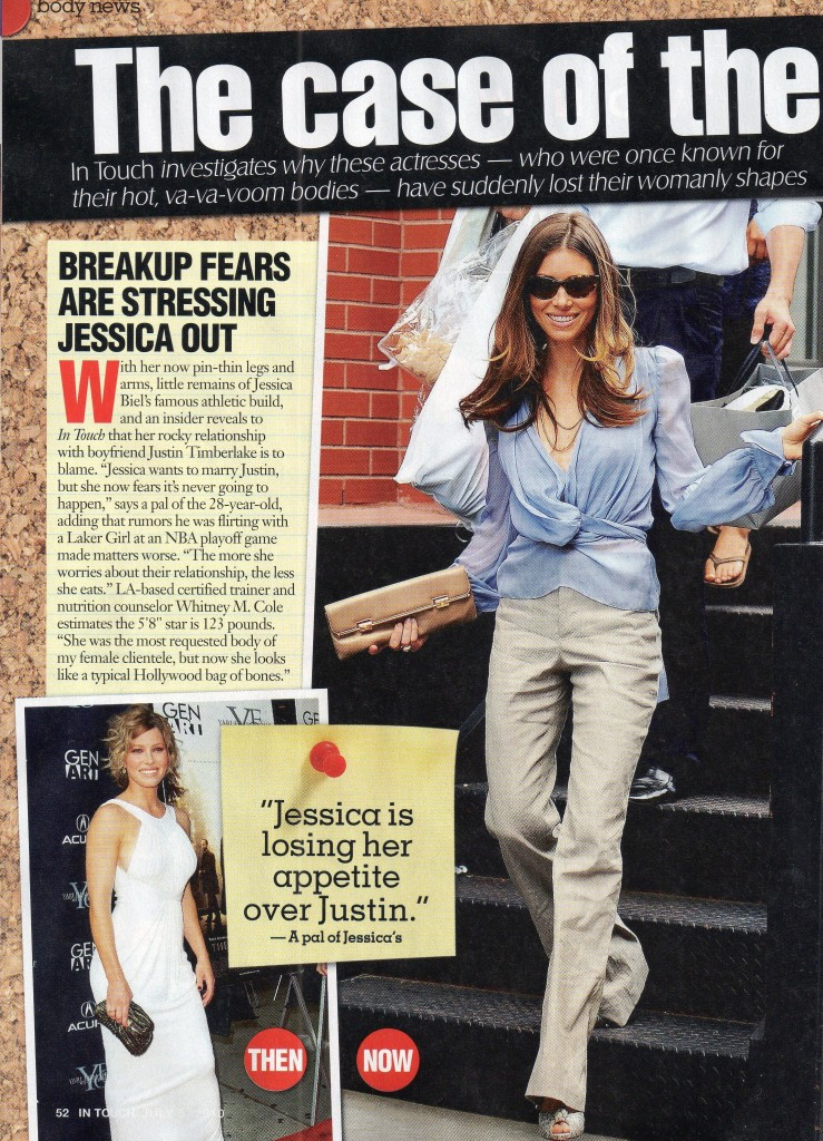 In Touch July 5, 2010 p. 52 - Fitness Expert Whitney Weighs in Jessica Biel
