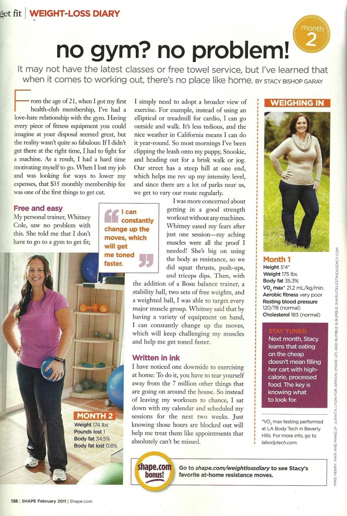 Shape Magazine February 2011 Weight Loss Diary p192 Trainer Whitney Cole
