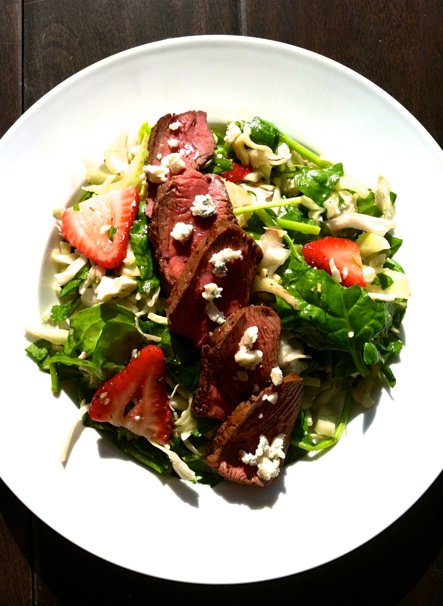 Red Black and Blue Strawberries, Steak and Blue Cheese Salad
