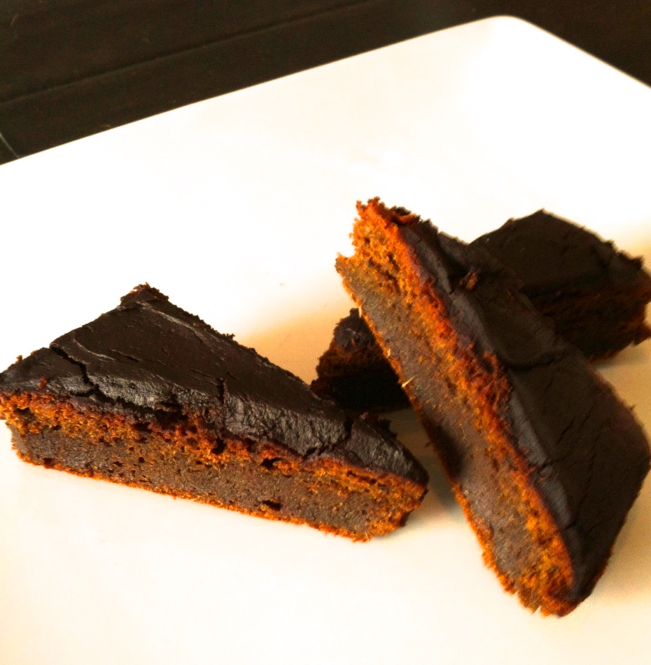 Chocolate Avocado Frosted Pumpkin Bars