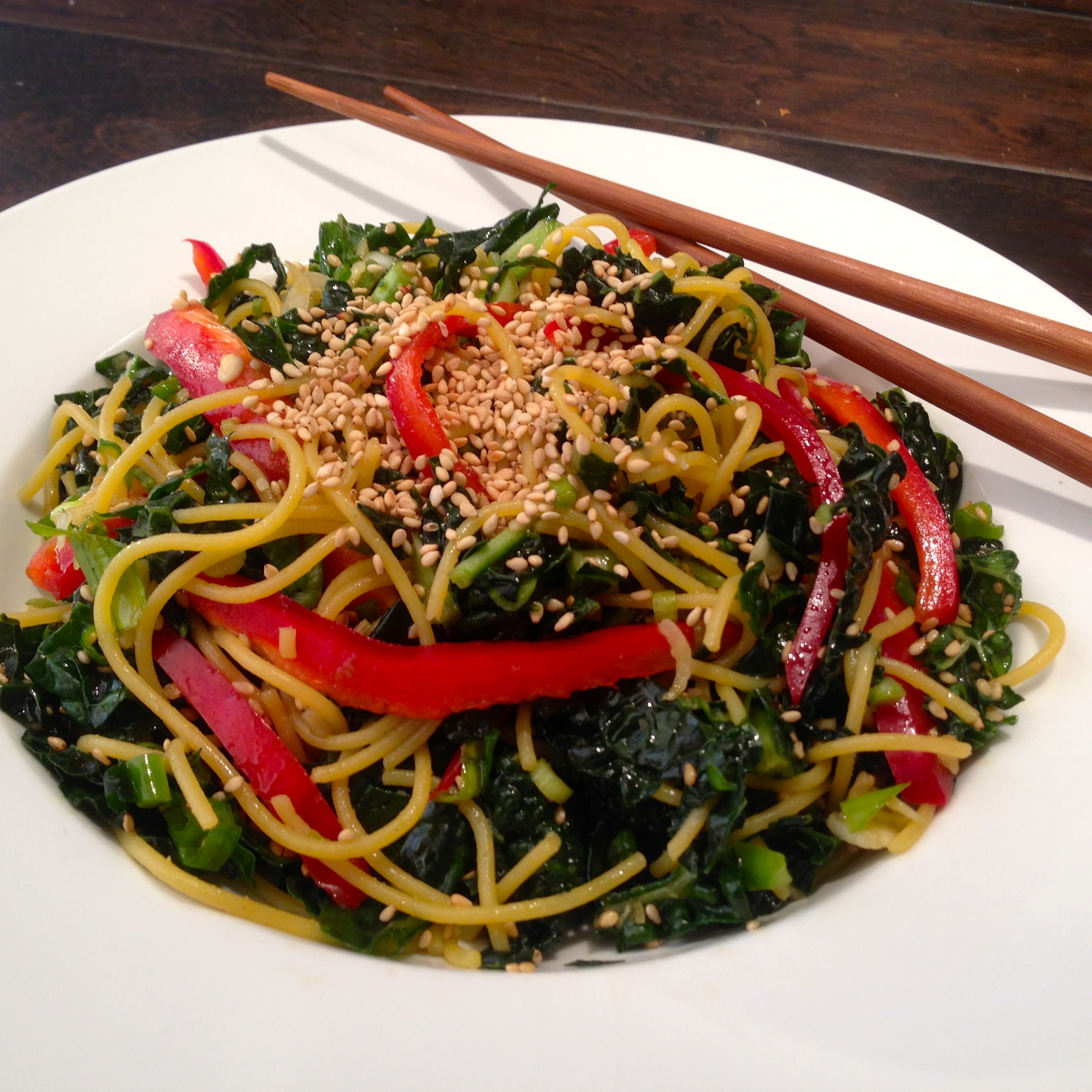 Sesame Kale Noodle Salad – Gluten Free! | Fitness and Fuel