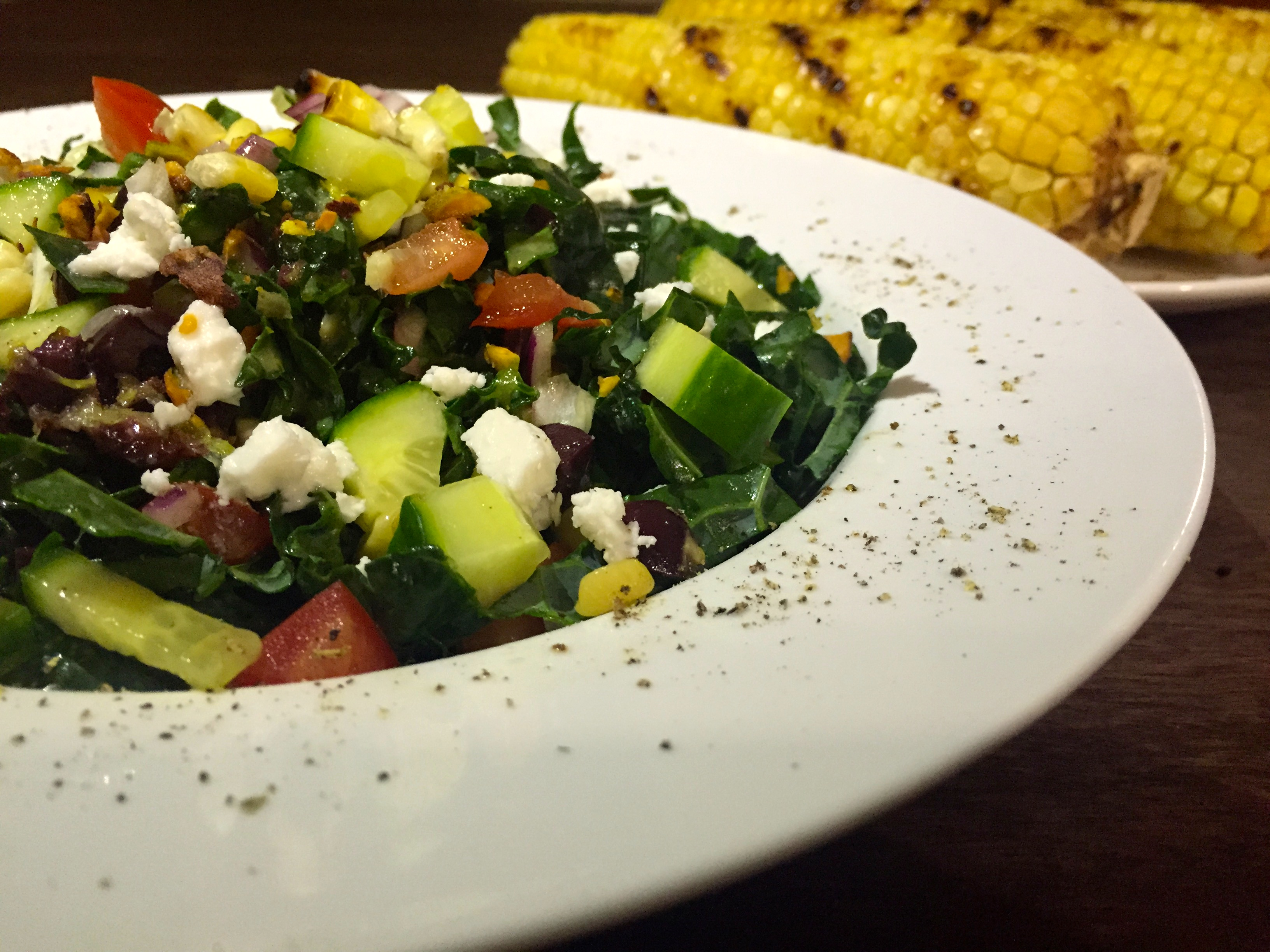 Grilled Corn and Kale Salad