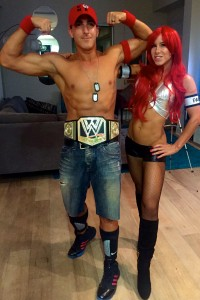 Now confident in hilarious shirtless Halloween costumes, like WWE wrestlers!