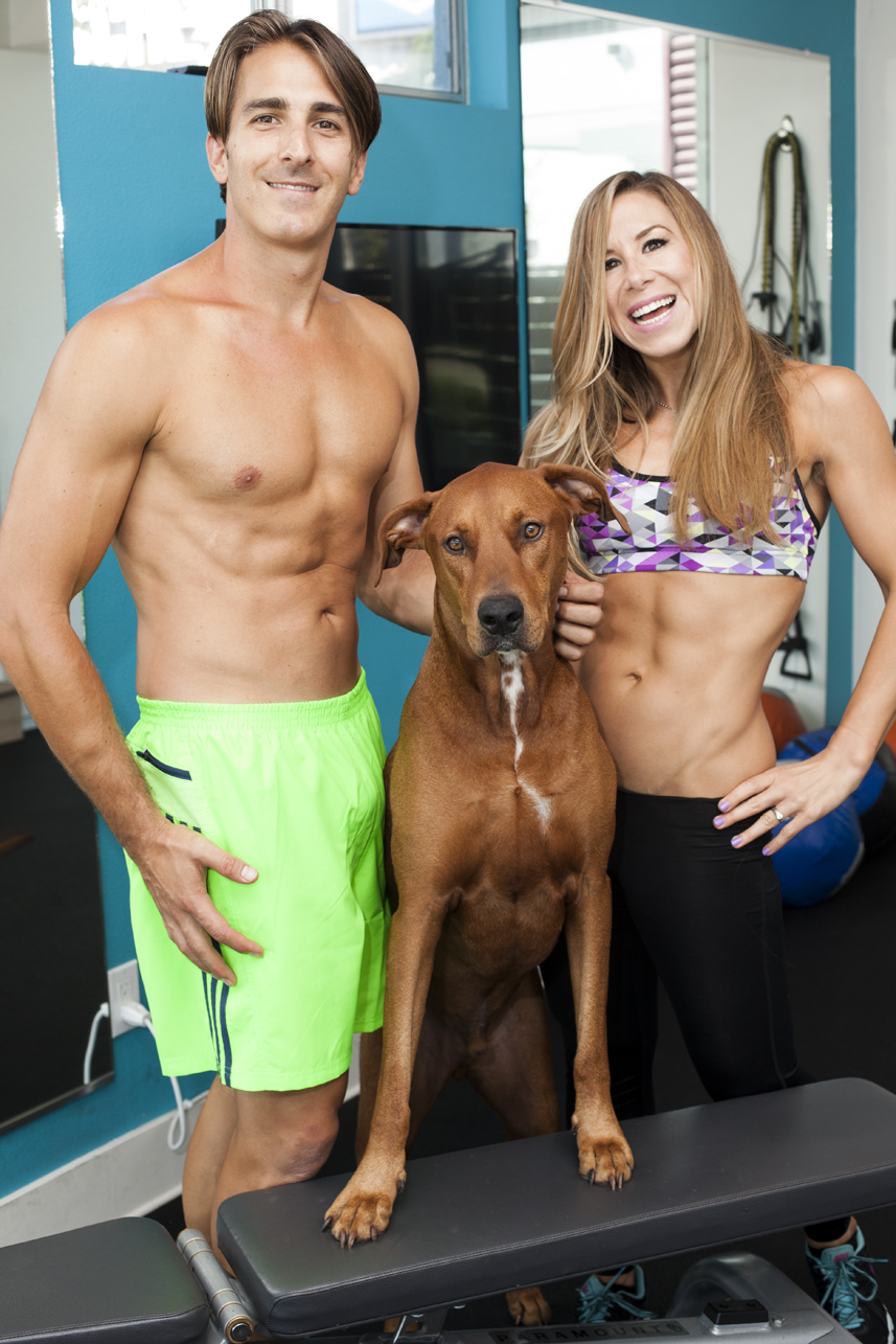 Whitney and Byron, Owners of Fitness and Fuel with their Dog